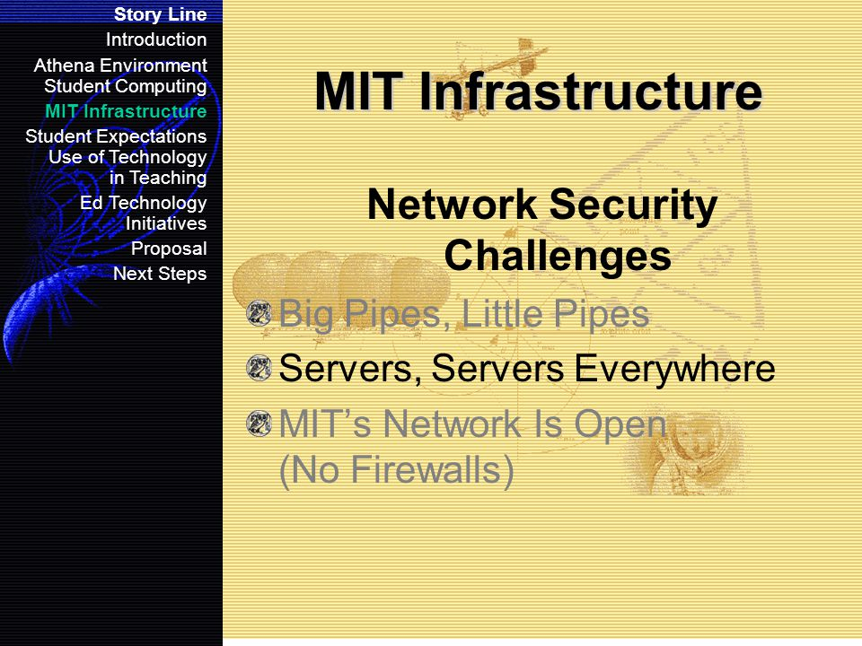 MIT Infrastructure Network Security Challenges Big Pipes, Little Pipes Servers, Servers Everywhere MIT's Network Is Open (No Firewalls) Story Line Introduction Athena Environment Student Computing MIT Infrastructure Student Expectations Use of Technology in Teaching Ed Technology Initiatives Proposal Next Steps