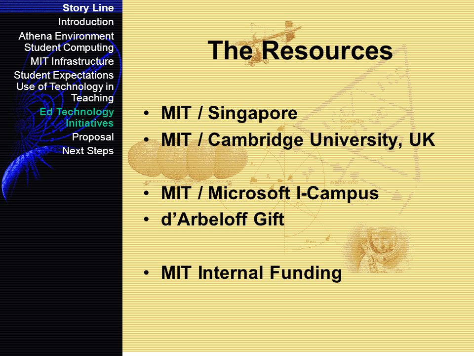 The Resources MIT / Singapore MIT / Cambridge University, UK MIT / Microsoft I-Campus d'Arbeloff Gift MIT Internal Funding Story Line Introduction Athena Environment Student Computing MIT Infrastructure Student Expectations Use of Technology in Teaching Ed Technology Initiatives Proposal Next Steps
