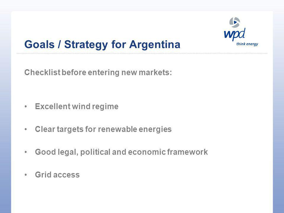 First impressions of the Argentine market:  Huge wind potential and good infrastructure  Promising market  Political will for renewable energies  Feed-in-tariff / political framework Goals / Strategy for Argentina