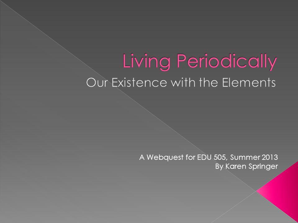 A Webquest for EDU 505, Summer 2013 By Karen Springer