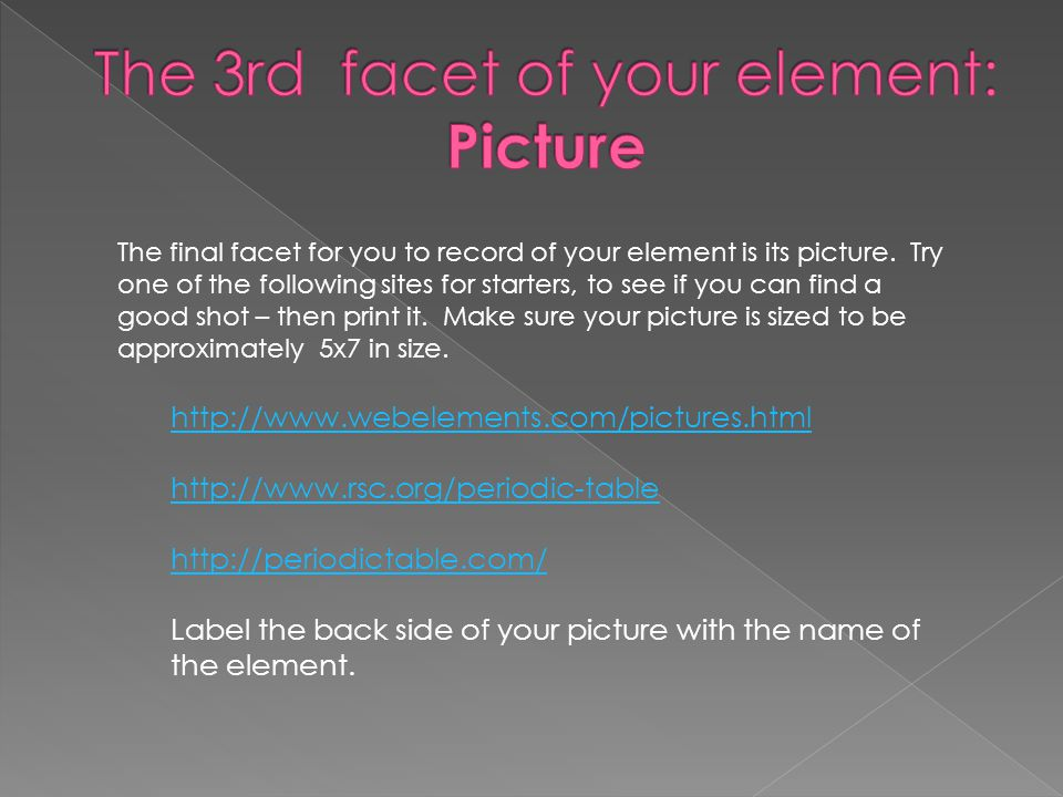 The final facet for you to record of your element is its picture.