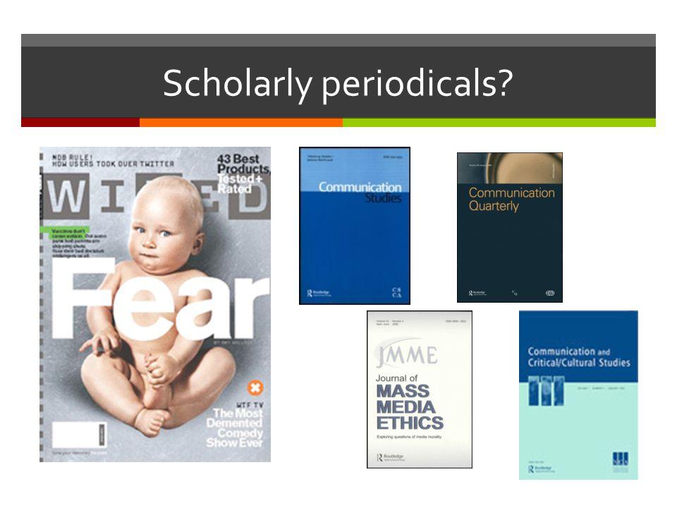 Scholarly periodicals
