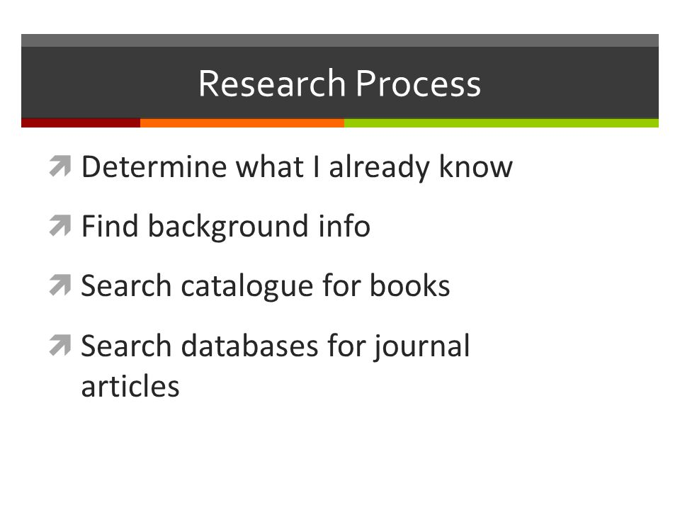 Research Process  Determine what I already know  Find background info  Search catalogue for books  Search databases for journal articles