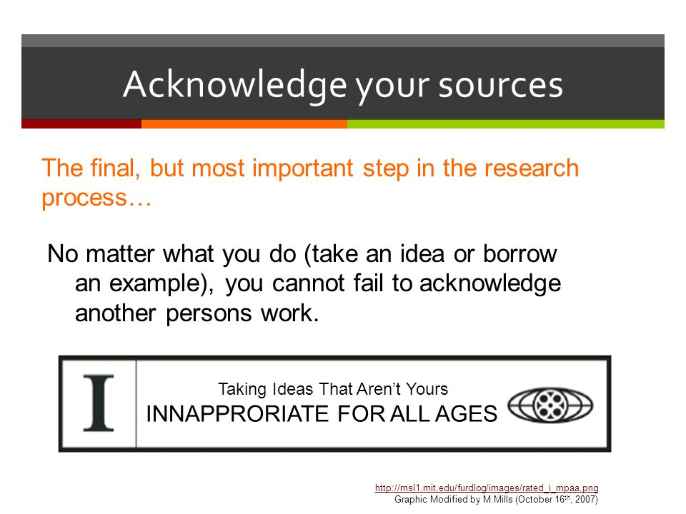 Acknowledge your sources The final, but most important step in the research process… No matter what you do (take an idea or borrow an example), you cannot fail to acknowledge another persons work.