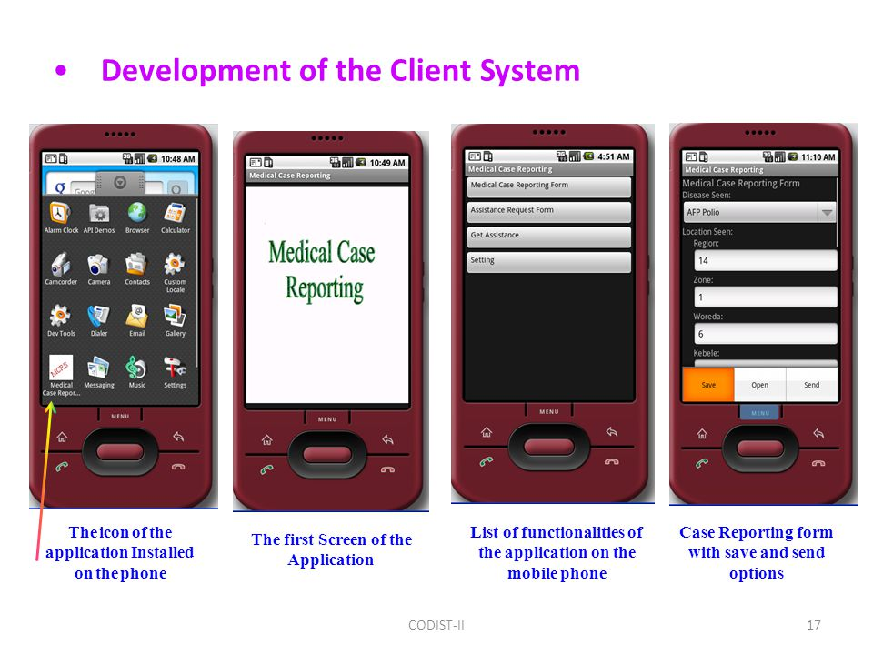 Development of the Client System The first Screen of the Application The icon of the application Installed on the phone List of functionalities of the application on the mobile phone Case Reporting form with save and send options 17CODIST-II