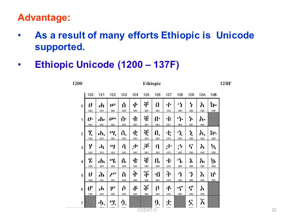 Advantage: As a result of many efforts Ethiopic is Unicode supported.