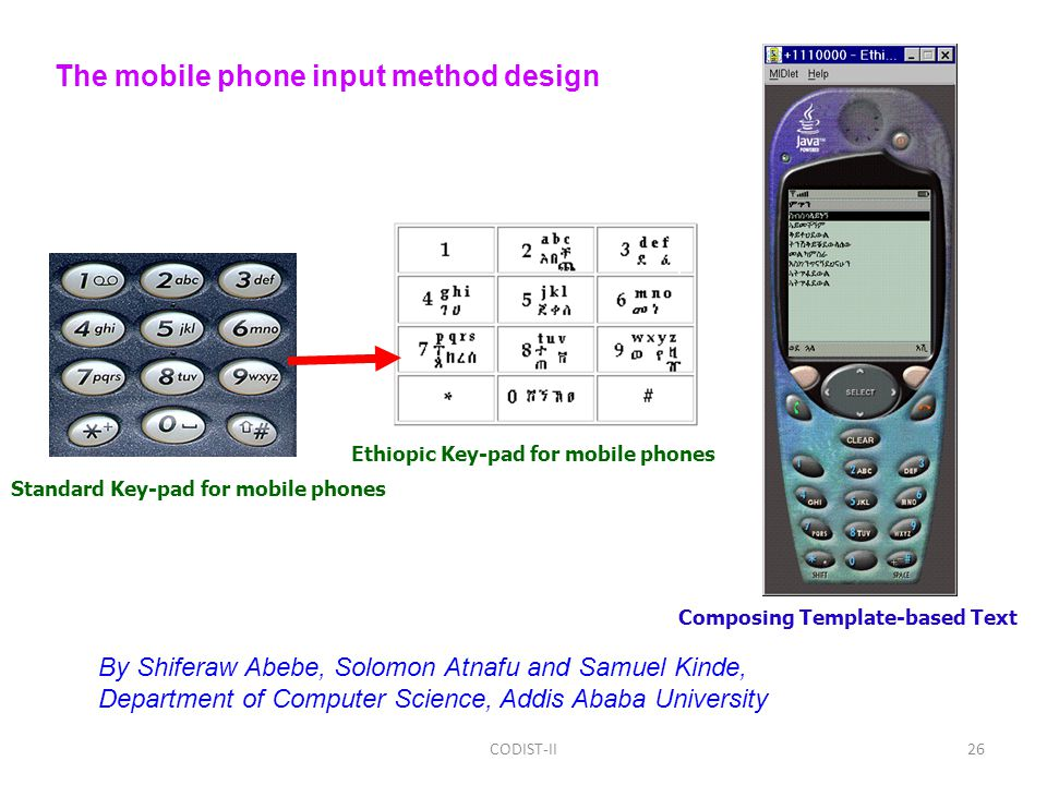 Standard Key-pad for mobile phones Ethiopic Key-pad for mobile phones Composing Template-based Text The mobile phone input method design By Shiferaw Abebe, Solomon Atnafu and Samuel Kinde, Department of Computer Science, Addis Ababa University 26CODIST-II