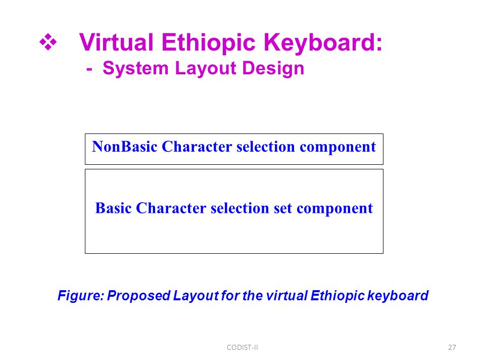 27 Basic Character selection set component NonBasic Character selection component Figure: Proposed Layout for the virtual Ethiopic keyboard CODIST-II  Virtual Ethiopic Keyboard: - System Layout Design
