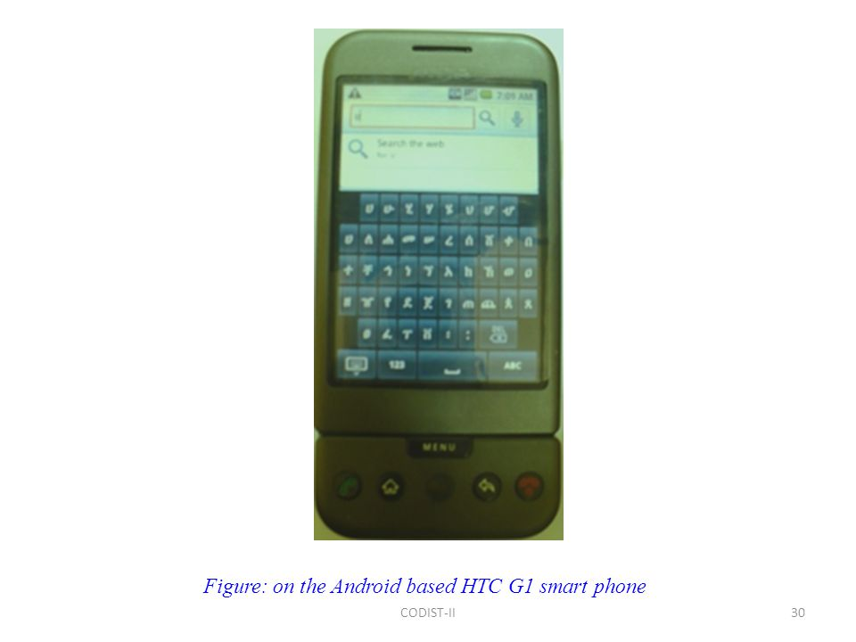 30 Figure: on the Android based HTC G1 smart phone CODIST-II