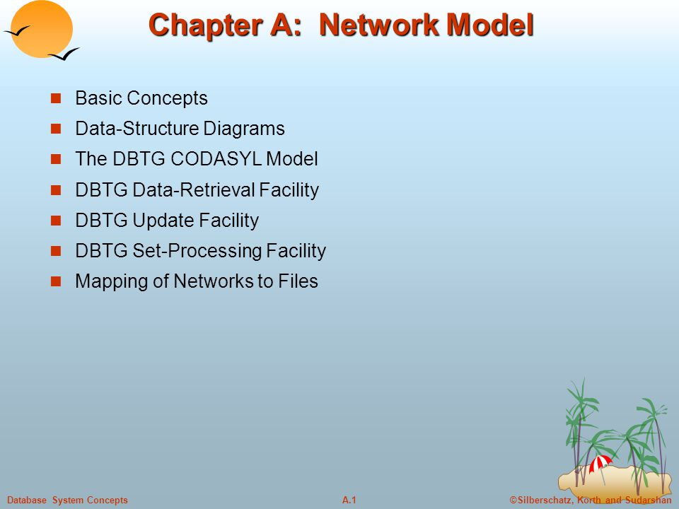 ©Silberschatz, Korth and SudarshanA.1Database System Concepts Chapter A: Network Model Basic Concepts Data-Structure Diagrams The DBTG CODASYL Model D