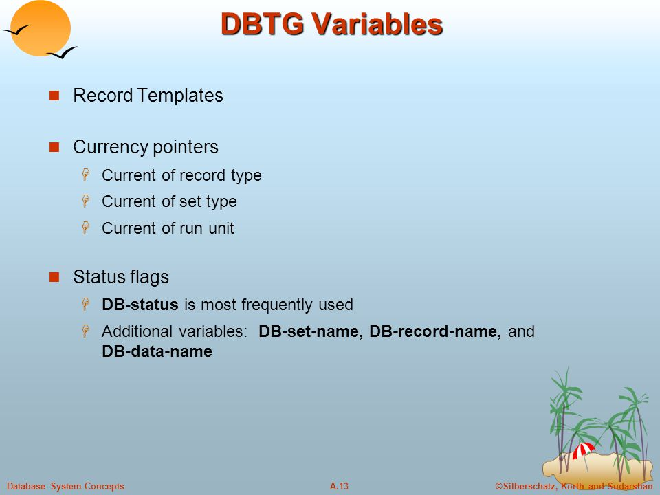 ©Silberschatz, Korth and SudarshanA.13Database System Concepts DBTG Variables Record Templates Currency pointers  Current of record type  Current of