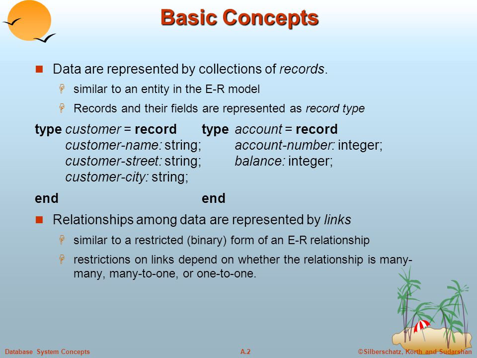©Silberschatz, Korth and SudarshanA.2Database System Concepts Basic Concepts Data are represented by collections of records.  similar to an entity in