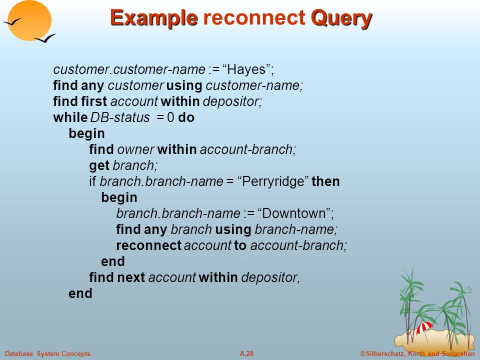"""©Silberschatz, Korth and SudarshanA.28Database System Concepts Example Query Example reconnect Query customer.customer-name := """"Hayes""""; find any custo"""