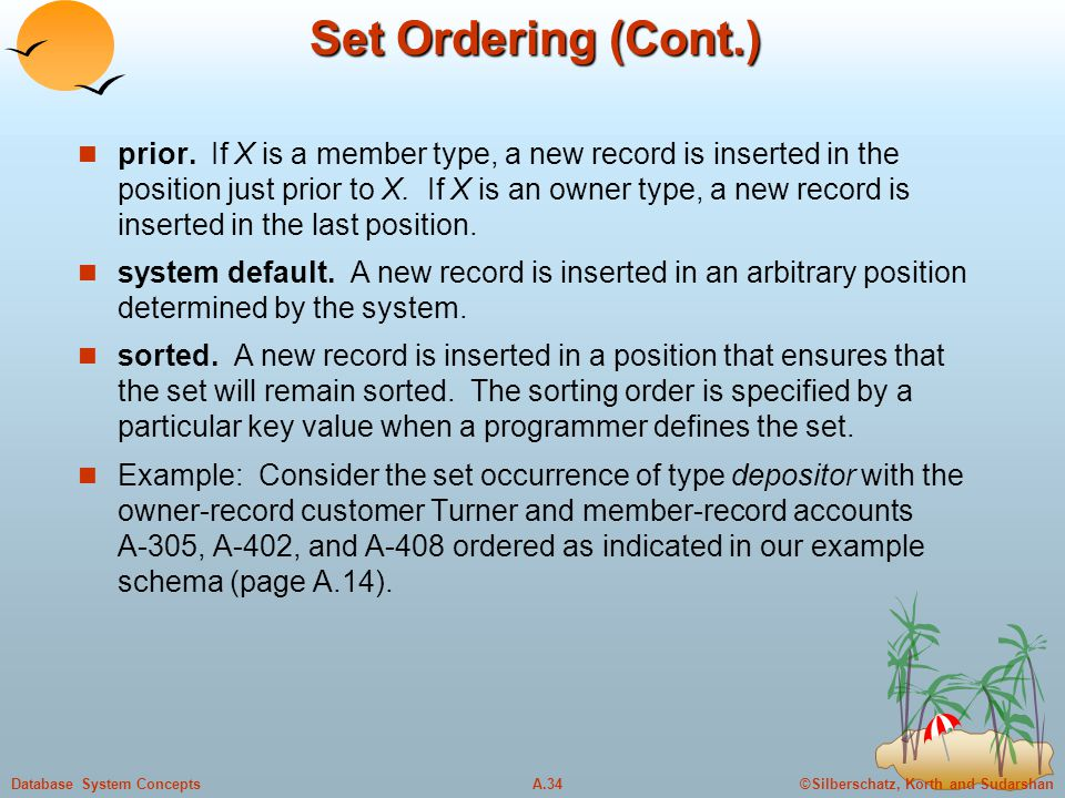 ©Silberschatz, Korth and SudarshanA.34Database System Concepts Set Ordering (Cont.) prior. If X is a member type, a new record is inserted in the posi