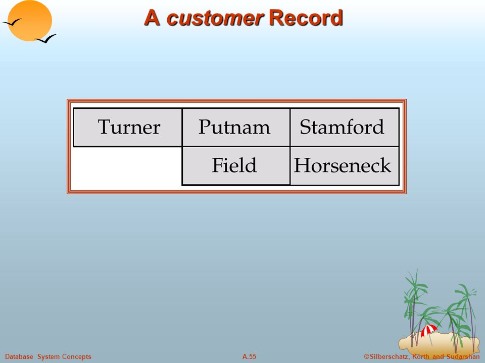 ©Silberschatz, Korth and SudarshanA.55Database System Concepts A customer Record