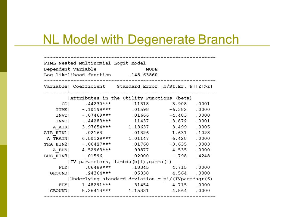 NL Model with Degenerate Branch FIML Nested Multinomial Logit Model Dependent variable MODE Log likelihood function Variable| Coefficient Standard Error b/St.Er.
