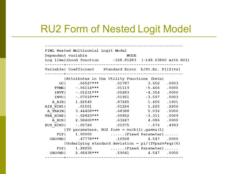 RU2 Form of Nested Logit Model ----------------------------------------------------------- FIML Nested Multinomial Logit Model Dependent variable MODE Log likelihood function -168.81283 (-148.63860 with RU1) --------+-------------------------------------------------- Variable| Coefficient Standard Error b/St.Er.