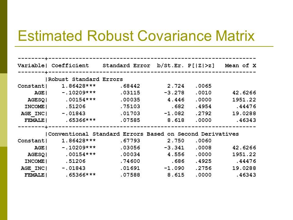 Estimated Robust Covariance Matrix --------+------------------------------------------------------------- Variable| Coefficient Standard Error b/St.Er.