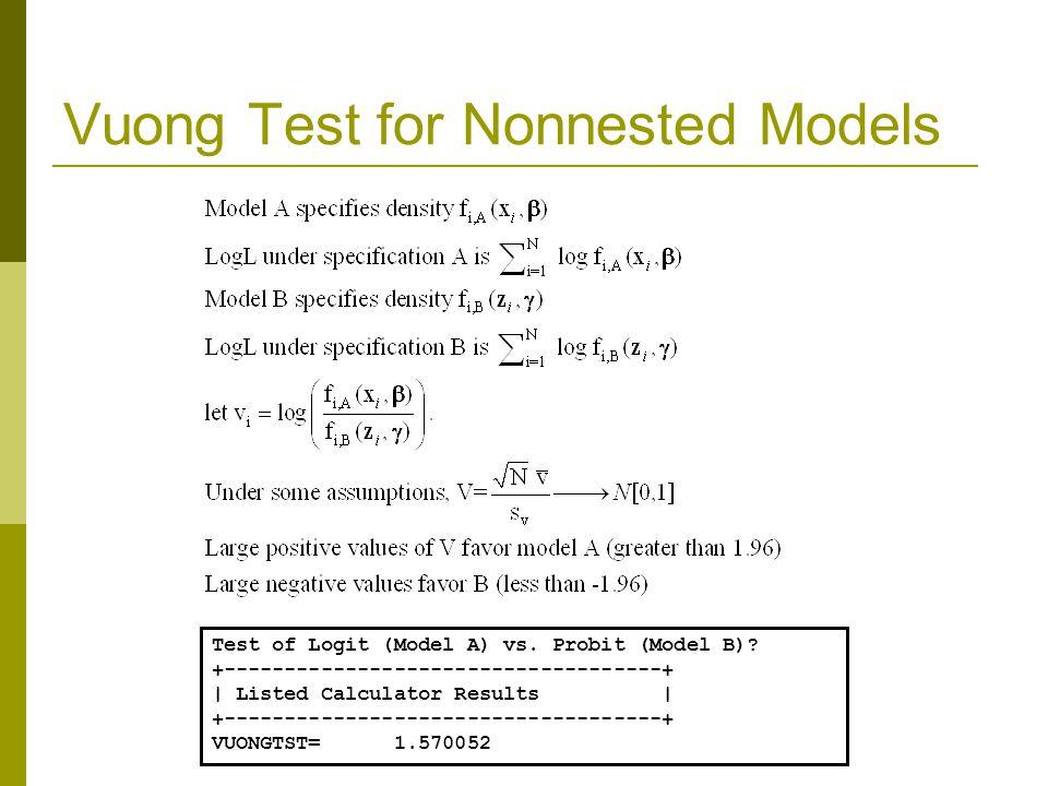 Vuong Test for Nonnested Models Test of Logit (Model A) vs.