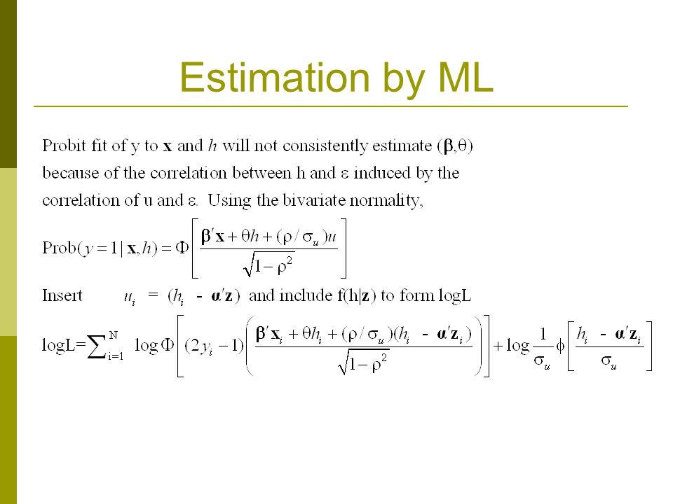 Estimation by ML