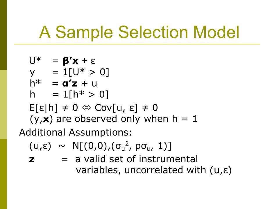 A Sample Selection Model U* = β'x + ε y = 1[U* > 0] h* = α'z + u h = 1[h* > 0] E[ε|h] ≠ 0  Cov[u, ε] ≠ 0 (y,x) are observed only when h = 1 Additional Assumptions: (u,ε) ~ N[(0,0),(σ u 2, ρσ u, 1)] z = a valid set of instrumental variables, uncorrelated with (u,ε)