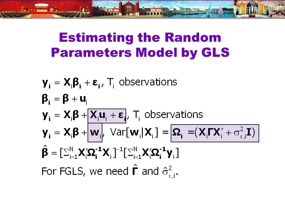 Estimating the Random Parameters Model by GLS