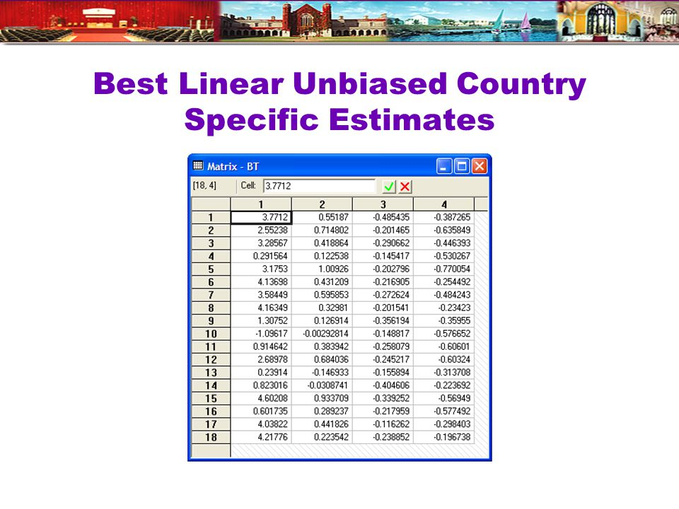 Best Linear Unbiased Country Specific Estimates