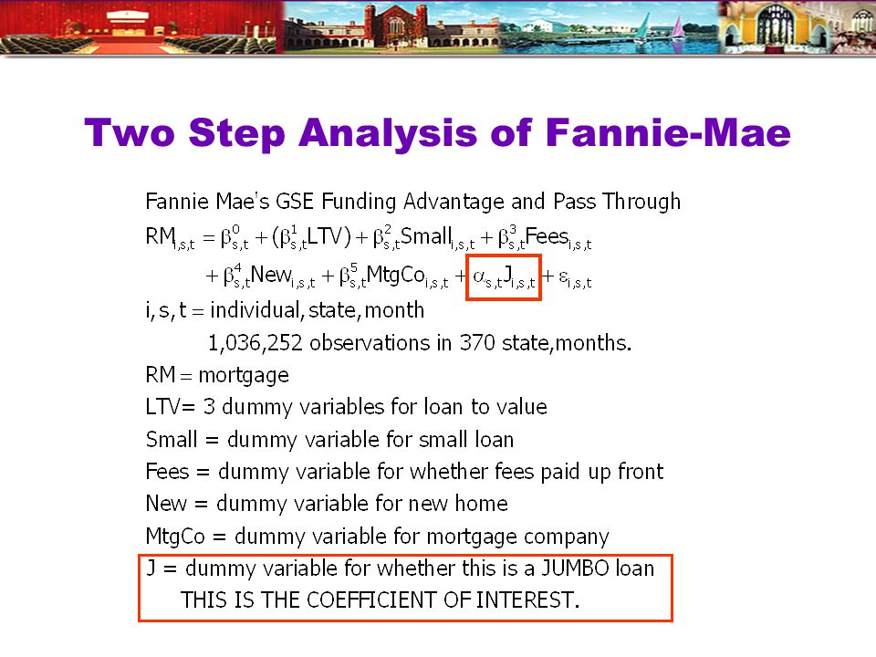 Two Step Analysis of Fannie-Mae