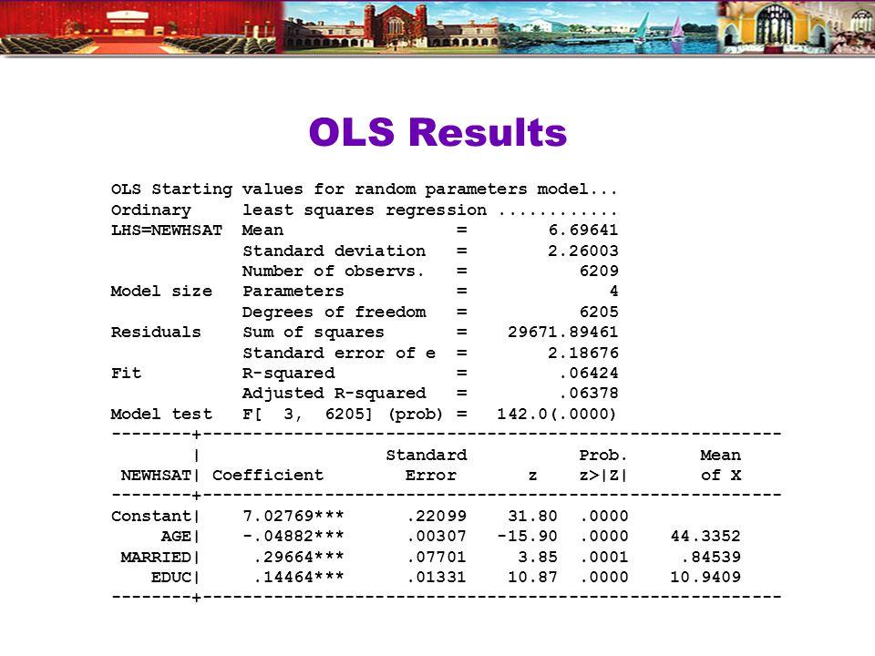 OLS Results OLS Starting values for random parameters model...