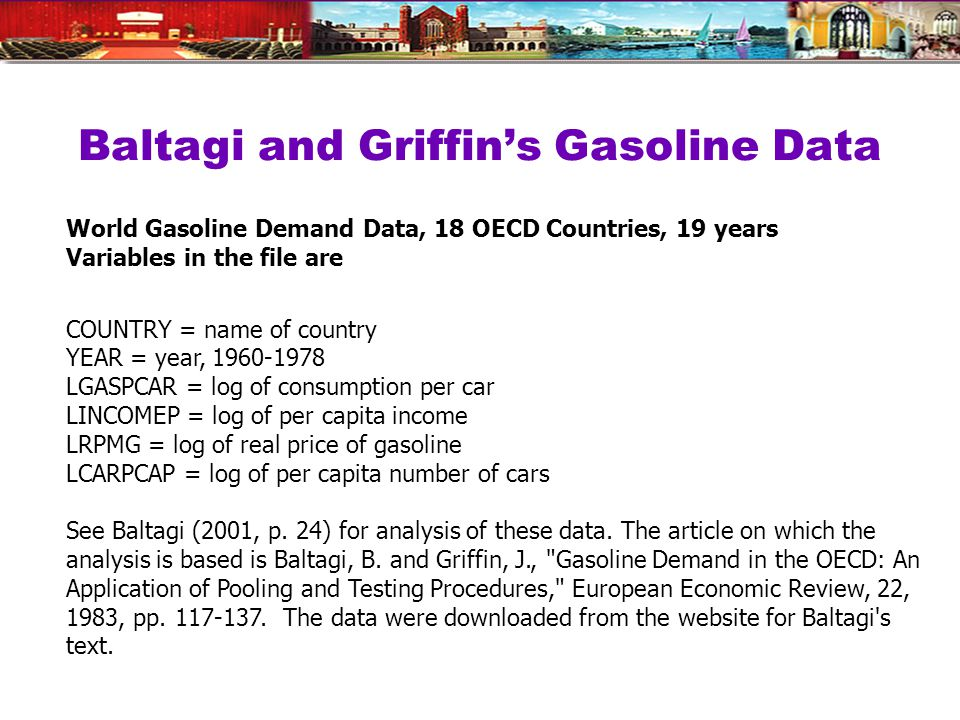 Baltagi and Griffin's Gasoline Data World Gasoline Demand Data, 18 OECD Countries, 19 years Variables in the file are COUNTRY = name of country YEAR = year, 1960-1978 LGASPCAR = log of consumption per car LINCOMEP = log of per capita income LRPMG = log of real price of gasoline LCARPCAP = log of per capita number of cars See Baltagi (2001, p.