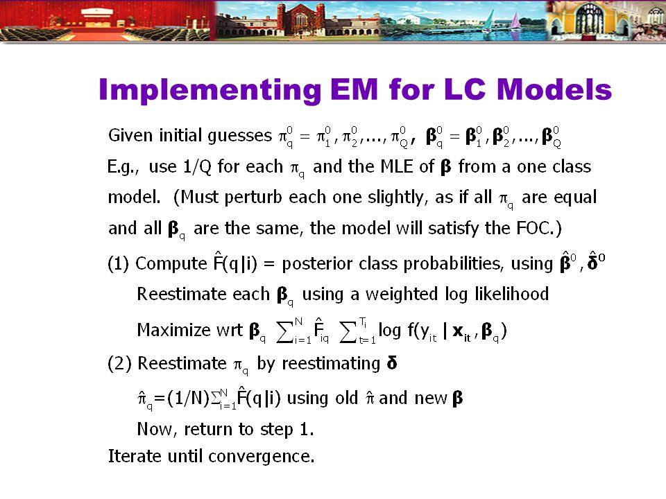 Implementing EM for LC Models