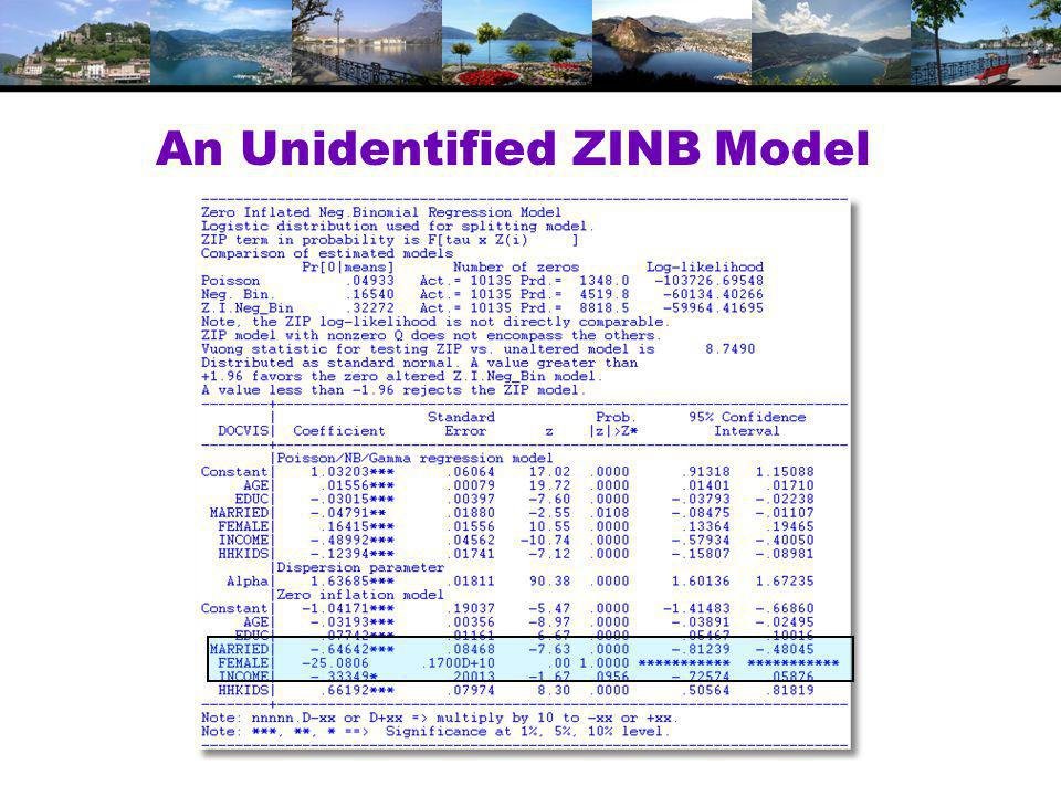 An Unidentified ZINB Model