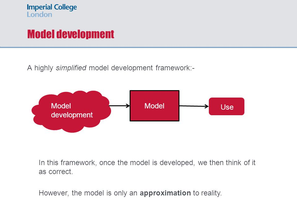Model development A highly simplified model development framework:- Model development Model Use In this framework, once the model is developed, we then think of it as correct.
