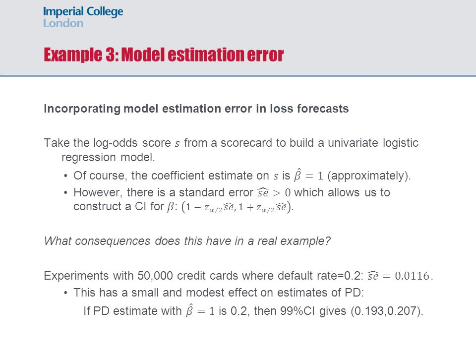 Example 3: Model estimation error