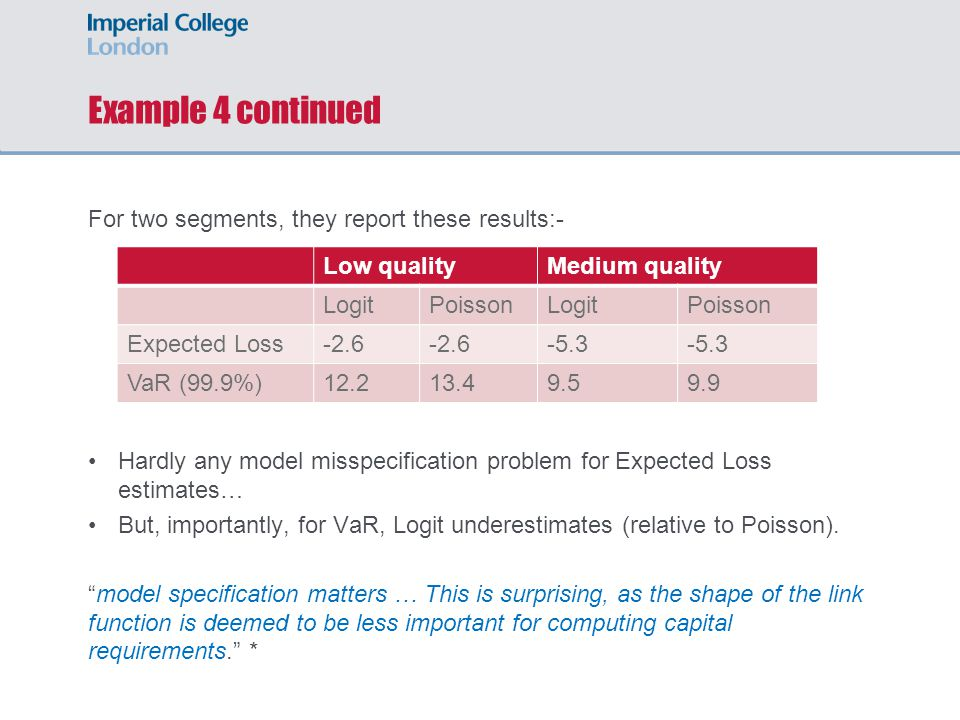 Example 4 continued For two segments, they report these results:- Hardly any model misspecification problem for Expected Loss estimates… But, importan