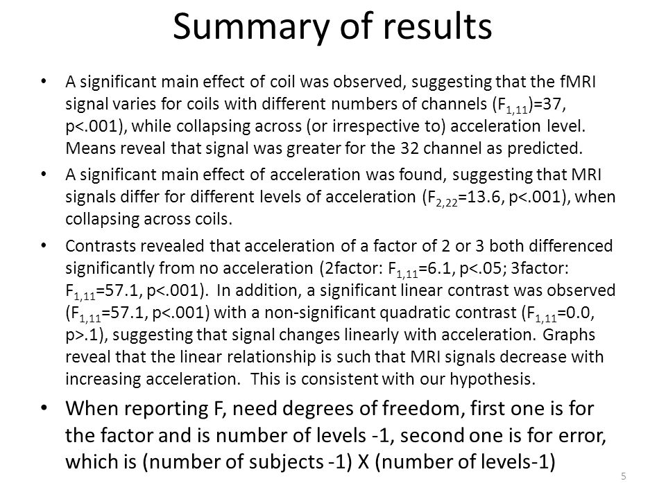Summary of results A significant main effect of coil was observed, suggesting that the fMRI signal varies for coils with different numbers of channels (F 1,11 )=37, p<.001), while collapsing across (or irrespective to) acceleration level.
