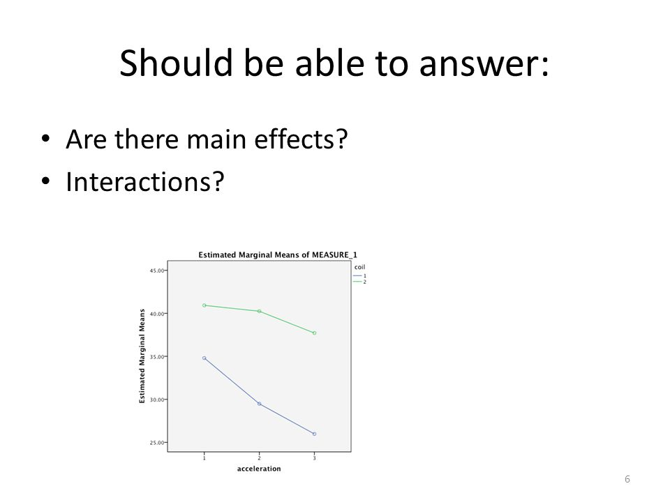 Should be able to answer: Are there main effects Interactions 6