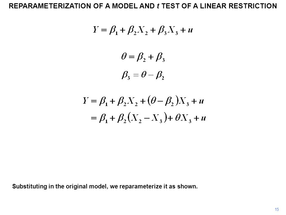 15 Substituting in the original model, we reparameterize it as shown. REPARAMETERIZATION OF A MODEL AND t TEST OF A LINEAR RESTRICTION