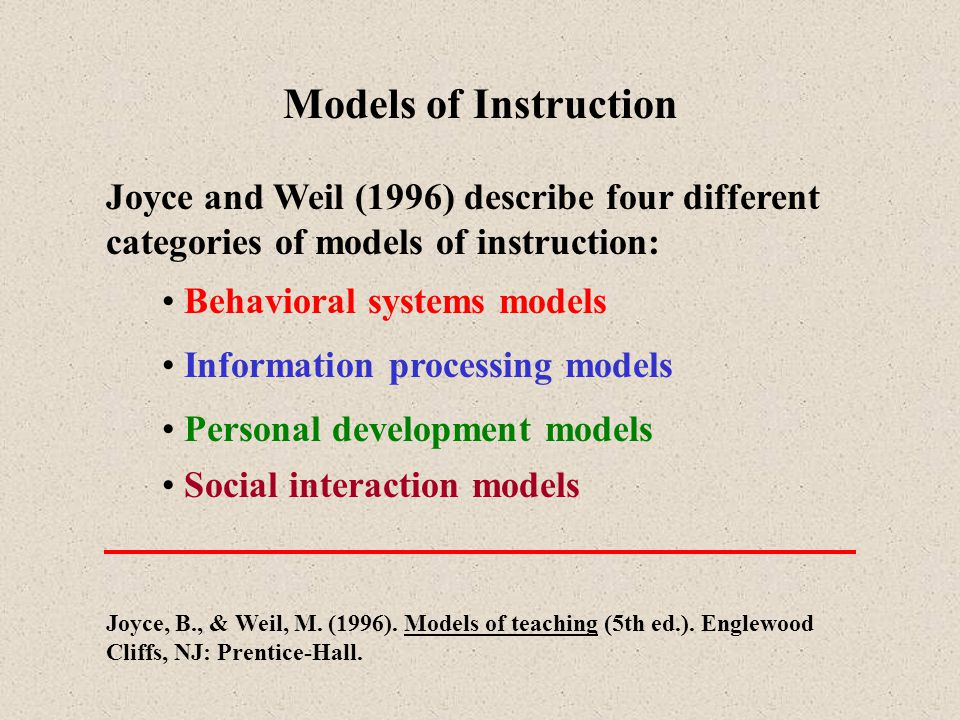 Social Interaction Models Two major models in this category are: Cooperative Learning Working in groups; based on the methods of Slavin and Johnson and Johnson Role playing Study and development of social behavior and values