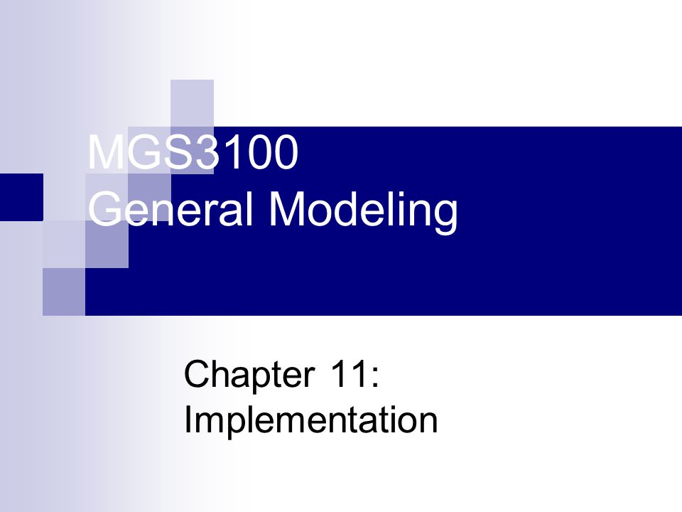 MGS3100 General Modeling Chapter 11: Implementation