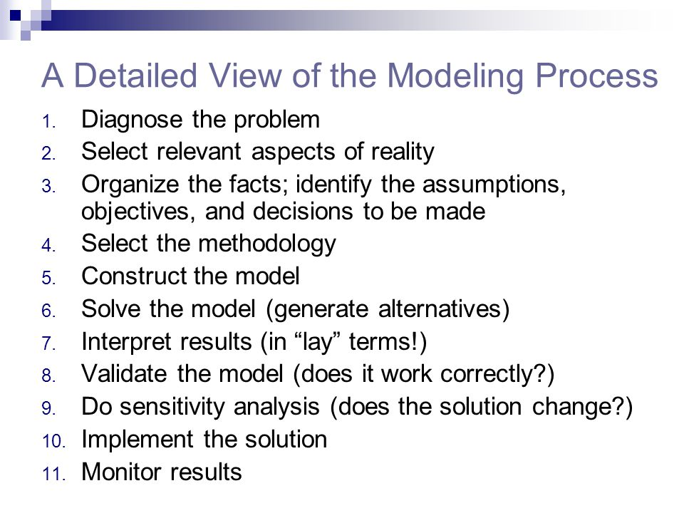 A Detailed View of the Modeling Process 1. Diagnose the problem 2. Select relevant aspects of reality 3. Organize the facts; identify the assumptions,