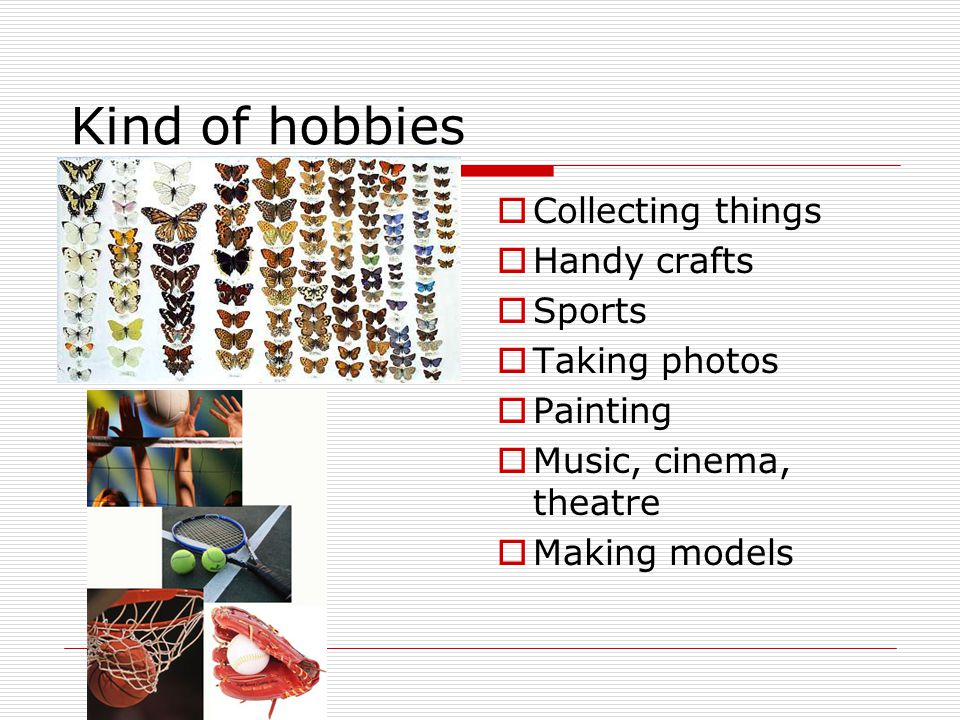 Kind of hobbies  Collecting things  Handy crafts  Sports  Taking photos  Painting  Music, cinema, theatre  Making models