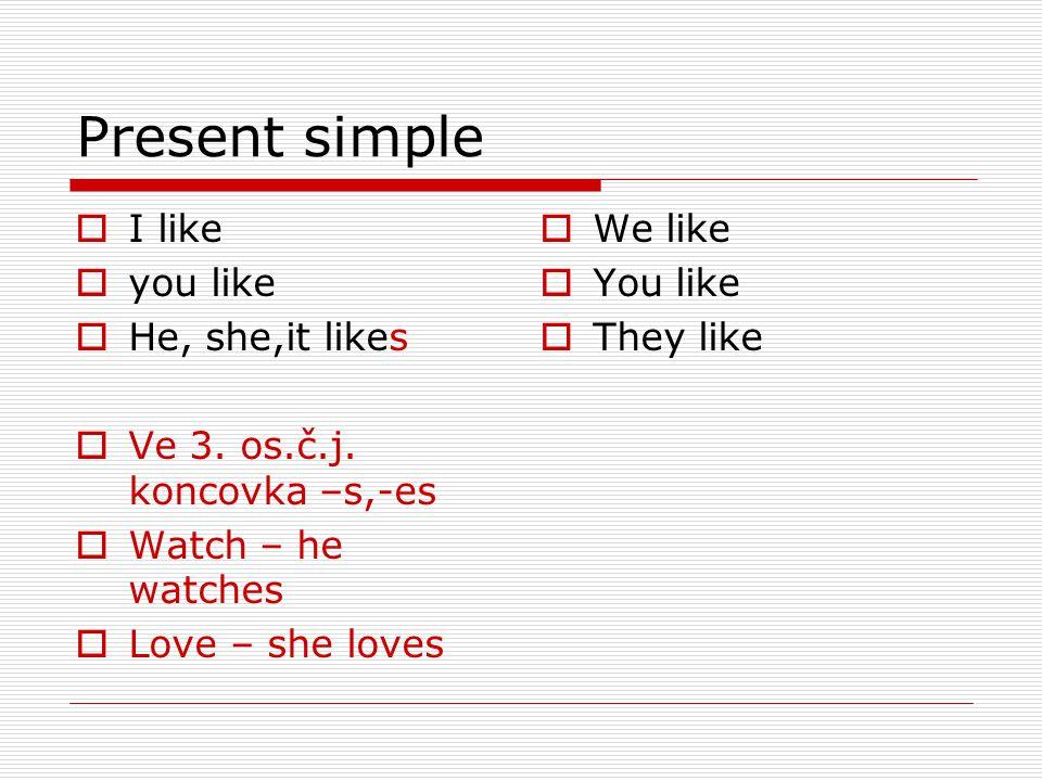  I like  you like  He, she,it likes  Ve 3. os.č.j.