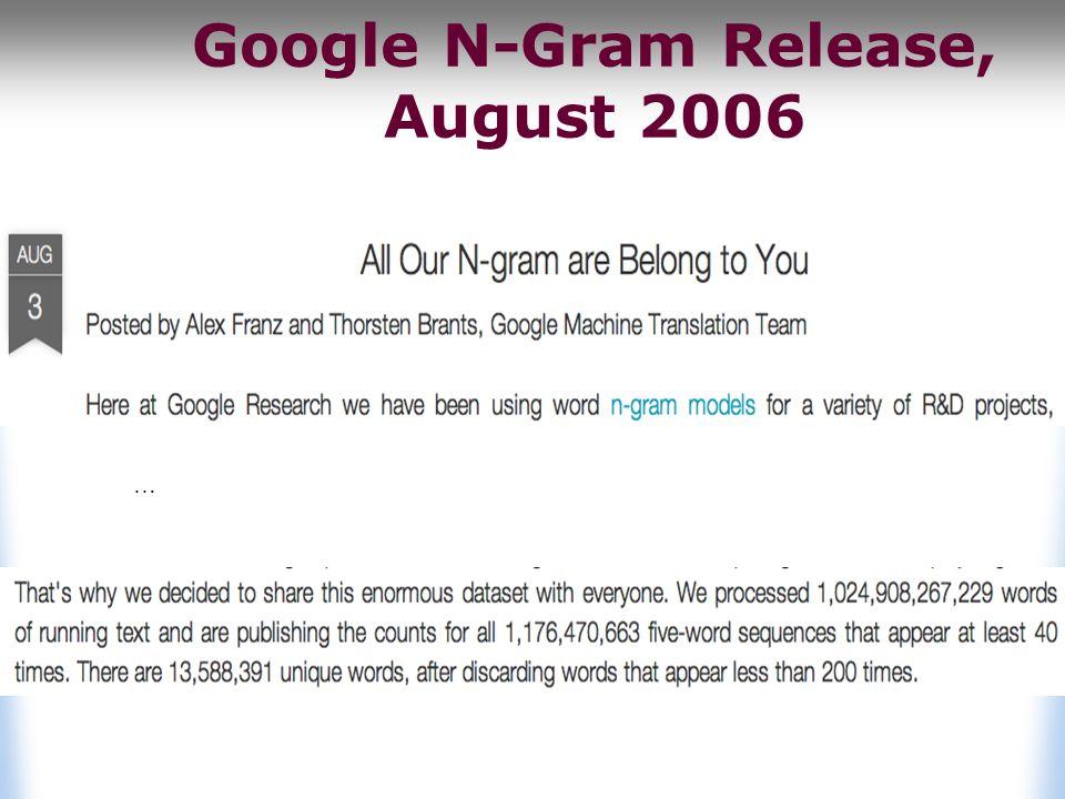 Google N-Gram Release, August 2006 …