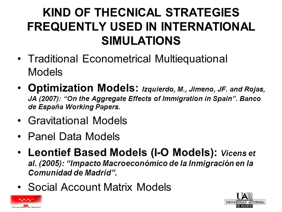 Inmigration Model Comunidad de Madrid 2005 STARTING POINT More than 12% of Employed population are immigrants in Comunidad de Madrid Majority of immigrants have come to CM in last five years Estimation of economic aspects of immigration in Spanish Comunidad de Madrid in last five years