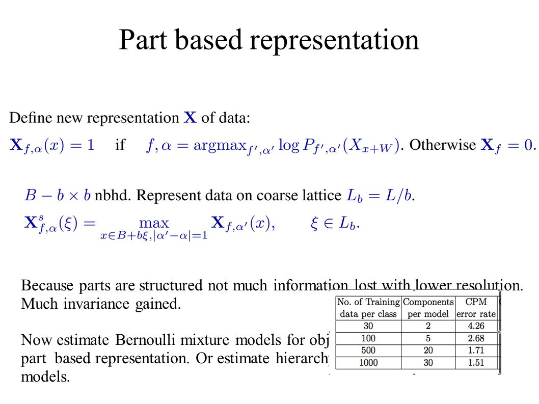 Part based representation Because parts are structured not much information lost with lower resolution. Much invariance gained. Now estimate Bernoulli