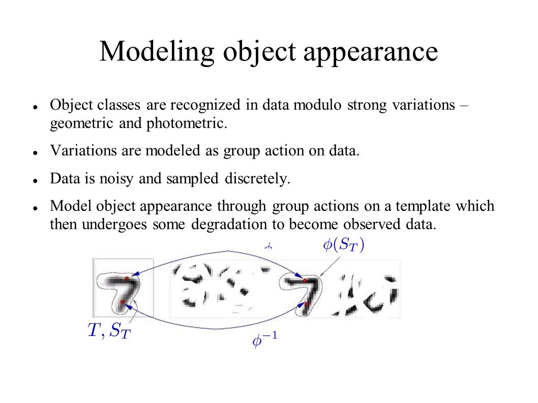 Modeling object appearance Object classes are recognized in data modulo strong variations – geometric and photometric. Variations are modeled as group