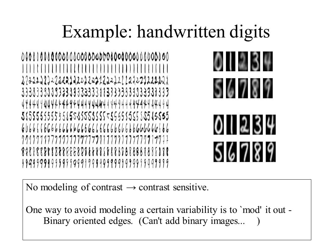 Example: handwritten digits No modeling of contrast → contrast sensitive.