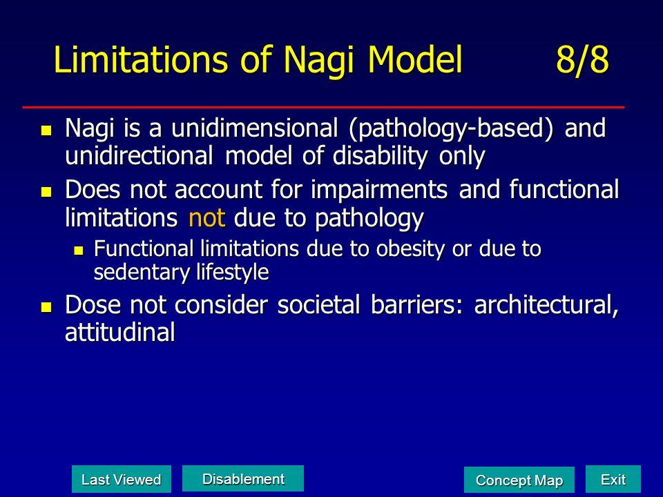 Limitations of Nagi Model 8/8 Nagi is a unidimensional (pathology-based) and unidirectional model of disability only Nagi is a unidimensional (patholo