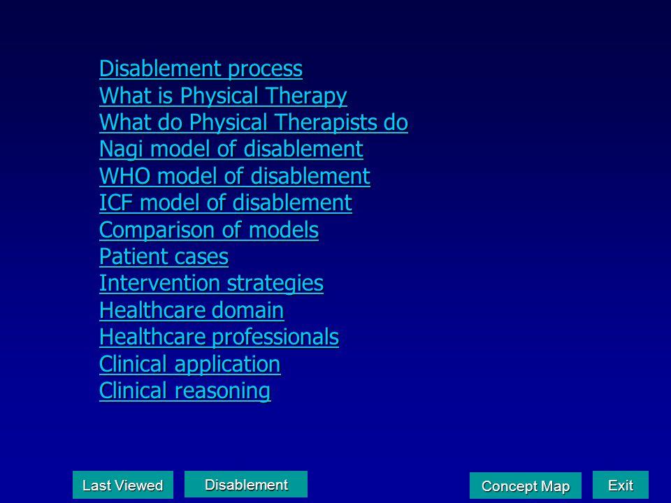 Disablement process Disablement process What is Physical Therapy What is Physical Therapy What do Physical Therapists do What do Physical Therapists d